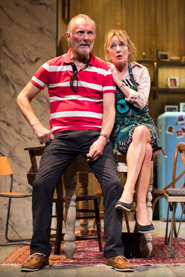 Aden Gillett (Mike) and Caroline Langrishe (Caroline Mortimer) in CAROLINE'S KITCHEN. Credit Sam Taylor