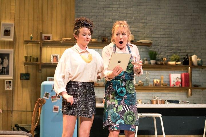 Jasmyn Banks (Amanda), Caroline Langrishe (Caroline Mortimer) in CAROLINE'S KITCHEN. Credit Sam Taylor