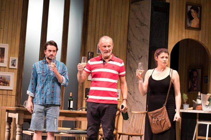 Tom England (Leo), Aden Gillett (Mike) and Elizabeth Boag (Sally) in CAROLINE'S KITCHEN. Credit Sam Taylor
