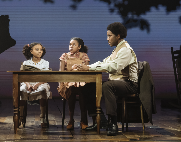 l-r Jasmine Djazel (Young Alline Bullock), Navaeah Hoath (Young Anna Mae Bullock) and Jammy Kasongo (Richard Bullock). Photo by Manuel Harlan