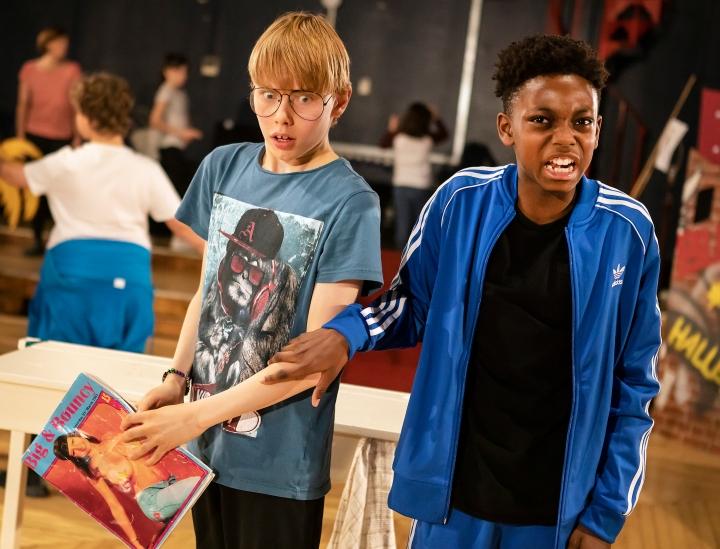 L-R Rufus Kampa (Adrian) and Jeremiah Waysome (Nigel), credit Pamela Raith
