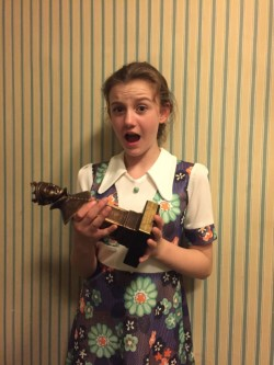 Darcy holding Olivier Award for Best New play The Ferryman