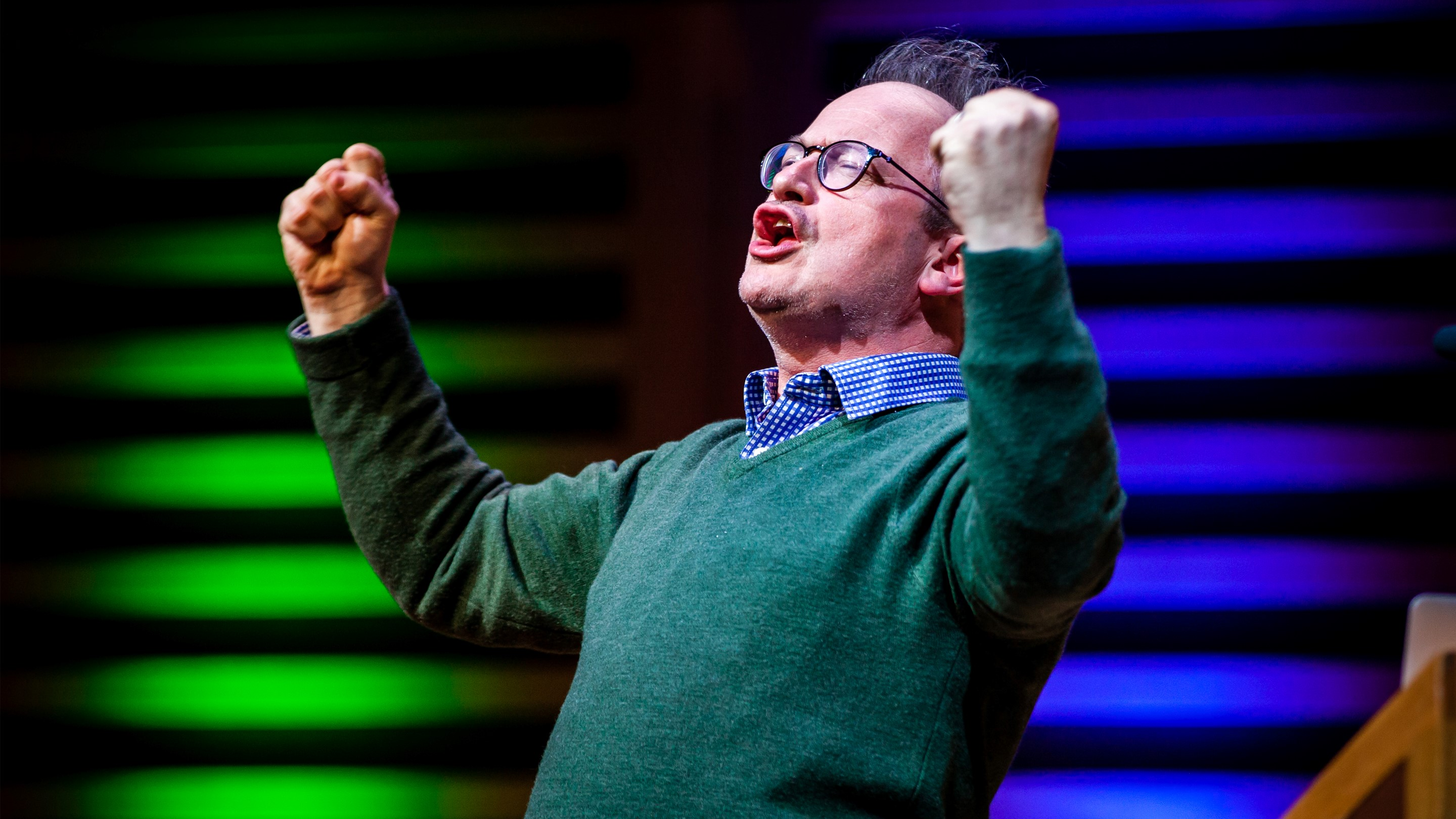 Robin Ince - Nine Lessons 2019 - photocredit, Natalie Shaw