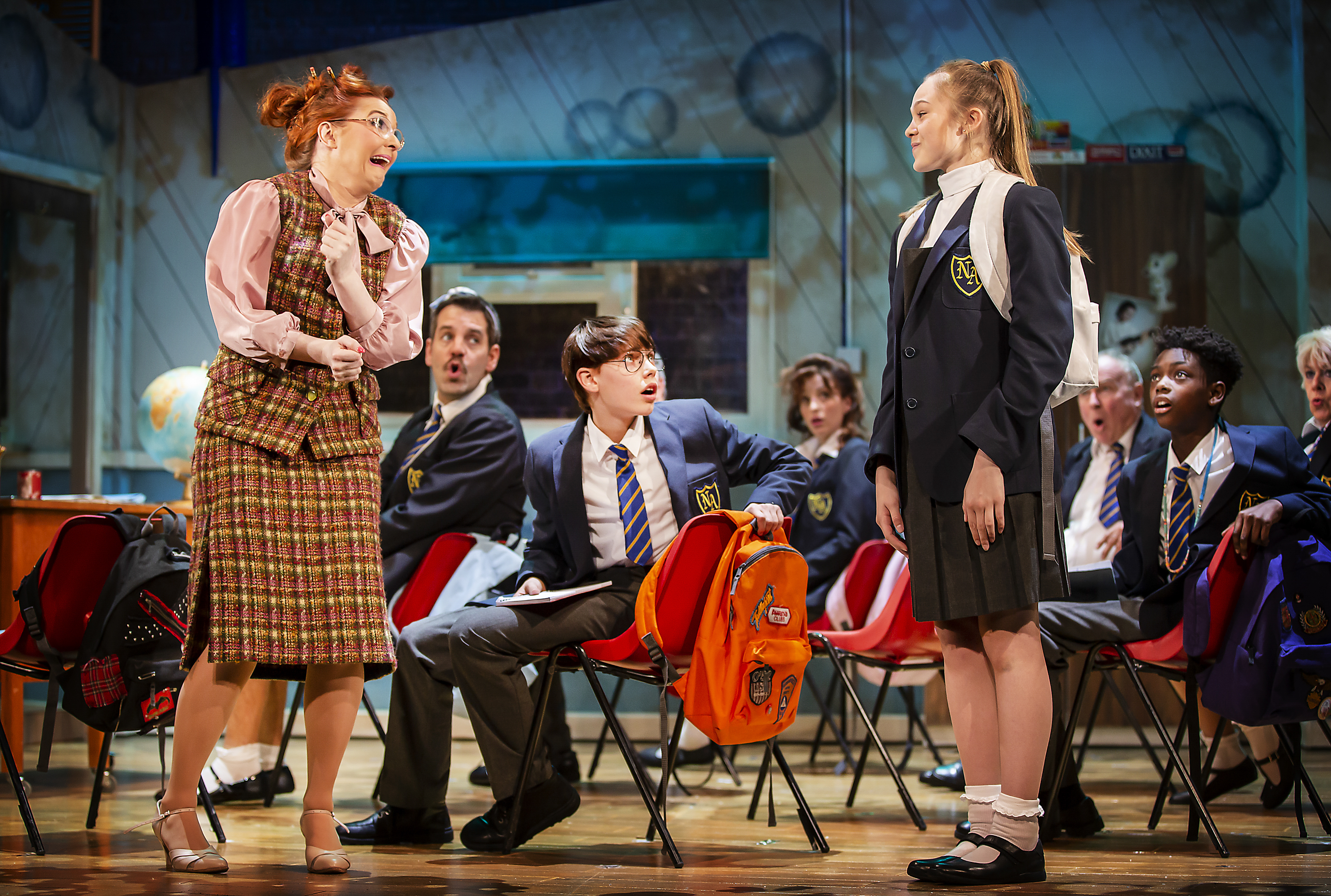 Lara Denning (Miss Elf_Doreen Slater), Rufus Kampa (Adrian), Rebecca Nardian (Pandora) and the cast of Adrian Mole