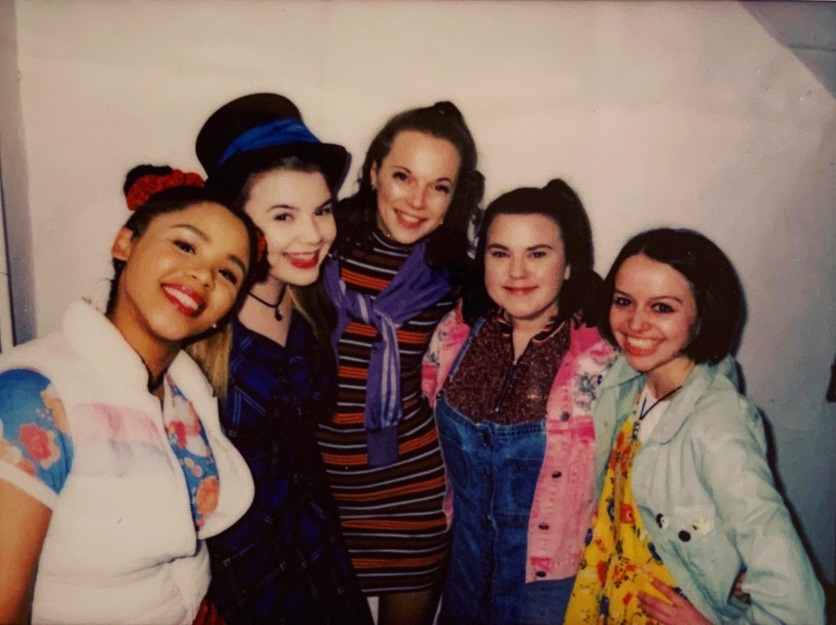 The Band West End Debut Polaroid (Rachelle Diedericks, Katy Clayton, Sarah Kate Howarth, Faye Christall & Lauren Jacobs)